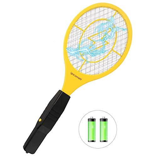 QcoQce Raquette Anti Moustique Electrique avec AA Batterie, Raquette Electrique 4000 Voltavec pour Débarrasser des Moustiques et Autres Insectes, 3 Couches Protection en Maille, Jaune