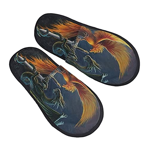 Flame Dragon Phoenix Western Myth Women's Plush Fluffy Slippers Cozy Anti Slip House Shoes for Indoor & Outdoor Cool printed Slip-on