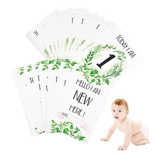 Inntek Lot de 24 Cartes pour Bébé Étapes de la Vie, Milestone Cartes pour Bébé Garçon et Fille, Baptême ou Fête Prénatale, Cartes de Vœux Assorties