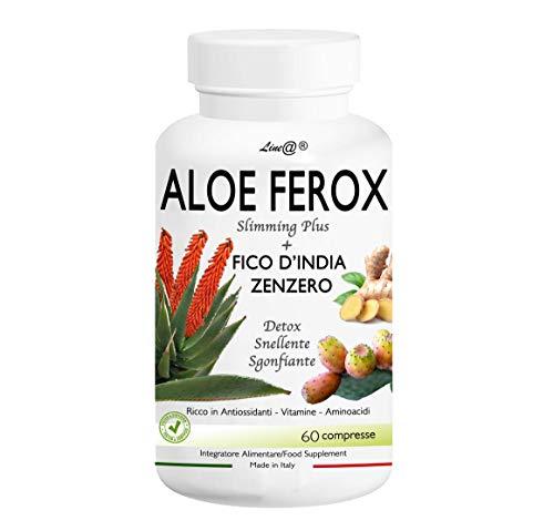 ALOE FEROX Line@ + FICO D'INDIA e ZENZERO - 60 CPR - ANTIOSSIDANTE – SNELLENTE – SGONFIANTE