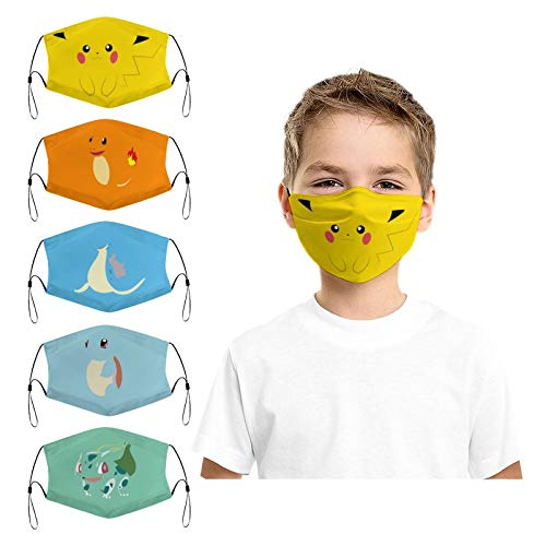 Poke-mon Cute Cartoon Anime 5pcs Kids Face Mask Soft Cotton Dustproof Washable and Reusable for Boys and Girls