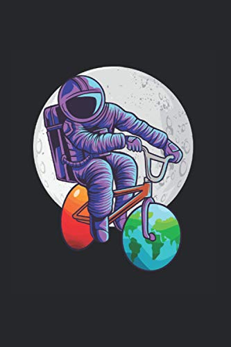 Notizbuch: Raum Astronaut Fahrrad Mond Mars Erde Planeten Notizbuch DIN A5 120 Seiten für Notizen Zeichnungen Formeln | Organizer Schreibheft Planer Tagebuch