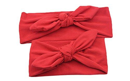 Westeng 2pcs/Set Madre-Niño Pajarita Diadema Cabello Bebés y Madre Cintas del Pelo Banda Elástico Pelo Accesorio Elegancia de Color Puro (Rojo)