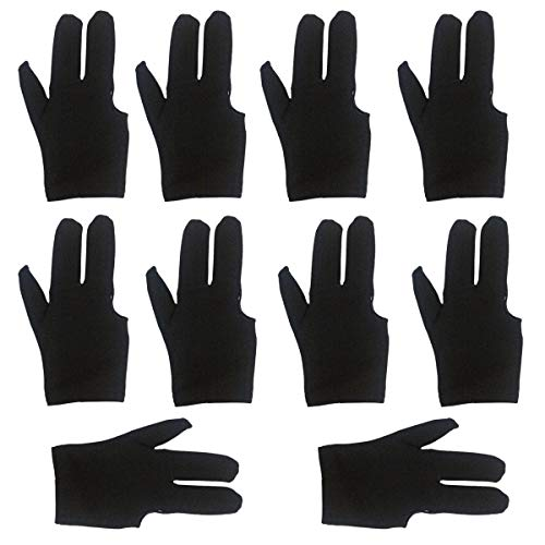 lasenersm 10 Pieces Billiard Gloves 3 Finger Billiard Gloves Pool Cue Gloves 3 Fingers Show Gloves Snooker Gloves Wear on The Right or Left Hand for Men Women, Black