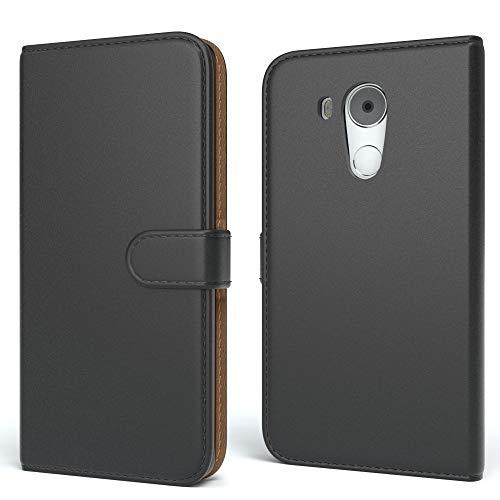 EAZY CASE Tasche kompatibel mit Huawei Mate 8 Schutzhülle mit Standfunktion Klapphülle im Bookstyle, Handytasche Handyhülle Flip Cover mit Magnetverschluss und Kartenfach, Kunstleder, Schwarz