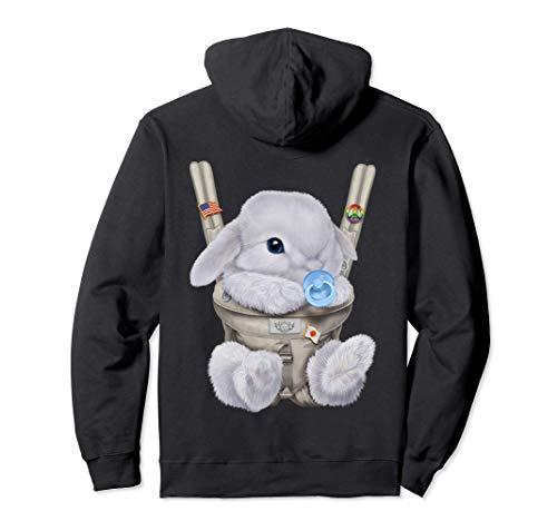 Conejo enano blanco con chupete en portabebé Sudadera con Capucha