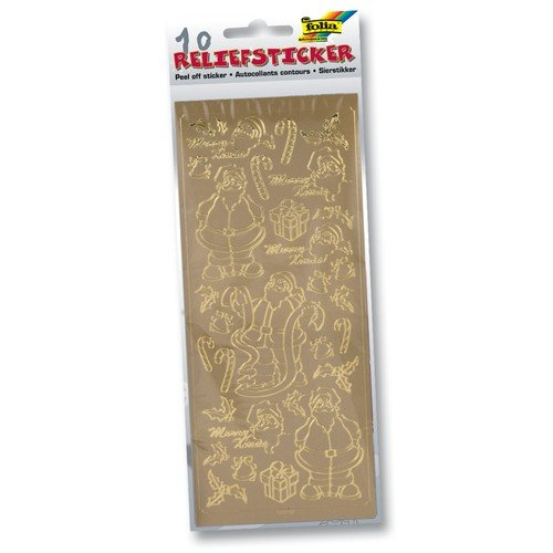 folia 1211 - Relief Sticker, Weihnachtsset, gold und silber sortiert, 10 Blatt - ideal zum Verzieren von Grußkarten, Bastelarbeiten, Geschenken,...