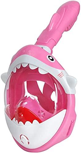 Enipate Máscara de esnórquel para niños, diseño de tiburón, vista panorámica de 180°, plegable y antivaho, máscara de buceo libre de respiración (rosa)