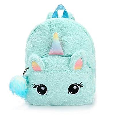 BETOY Unicornio Mochila niñas Mochila Infantiles niños de Peluche Lindo Arco Iris Suave Mochila Mini Unicornio niño Estudiante Viajes (Azul)