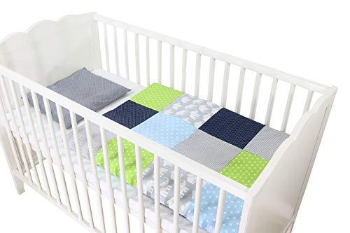 ULLENBOOM ® Babybettwäsche 80x80 cm Elefant Blau Grün - 2 Teile (komplett): Baby Bettwäsche 80x80 cm & Kissenbezug 35x40 cm, Baby Bettset für das Babybett aus 100%...