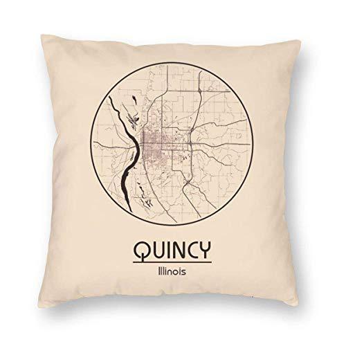 Sweet grape Quadratischer Kissenbezug USA Quincy Illinois Nordamerika Kissenbezüge mit Reißverschluss Couch 1 Stück, 45,7 x 45,7 cm