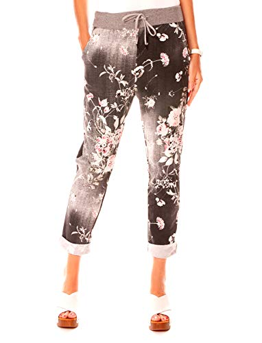 Easy Young Fashion Damen Hose Jogginghose Boyfriend Sweatpants Sweat Jogger Pants Sporthose Print-Muster Jeans-Schwarz Geblümt