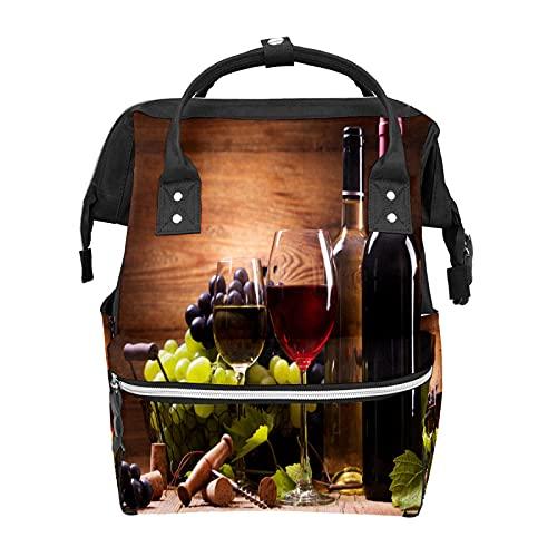 Bolsa de pañales para mujer Mochila de vino tinto Copa de uva multifunción viaje mochila bebé cambiando bolsas bolsa de pañales gran capacidad elegante