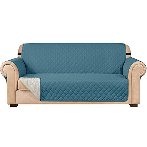 subrtex Funda de sofá Reversible Acolchada para 1,2,3 plazas Funda de Silla Antideslizante para Mascotas y niños con Correas Elásticas Protector de Muebles (3 Plaza, Azul Verde)