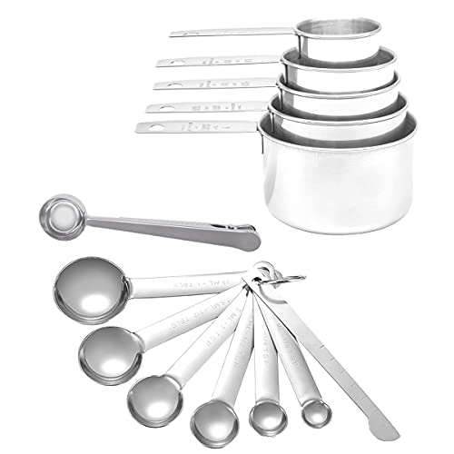 Measuring Cups and Spoons Set,13 Pieces Stackable Set,Stainless Steel Tool for Kitchen Cooking and Baking