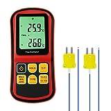 Digital K/J/T/E/R/S/N Tipo Termopar Termómetro Canales Pantalla LCD -150~1767 ° C Temperatura ATC Probador, Celsius Y Fahrenheit Precisión De ±0, 1% + 0.6° C, Con Luz De Fondo