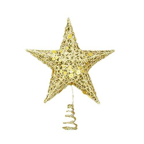 AIVILLE - Puntale per albero di Natale in ferro battuto con stelle luccicanti, decorazione per la casa (15 cm, dorato)