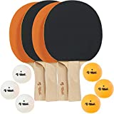 Rally and Roar Table Tennis Paddle, Set of 4 Classic Paddles, 6 Balls- Wooden Table Tennis Paddles with 5-Ply...