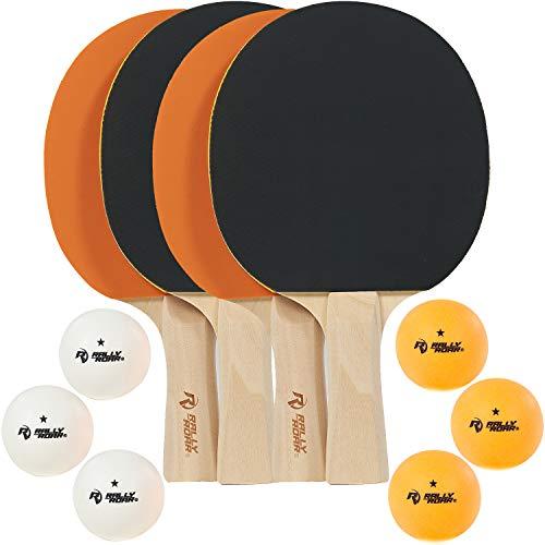 Rally and Roar Ping Pong Paddel, Classic Set von 4 Paddeln (schwarz/orange), 6 Ping Pong Bälle - Holz Tischtennis Paddel, 5-lagige Klinge, Inverted Gummis für 4 Spieler Spiele - Indoor Spielausrüstung