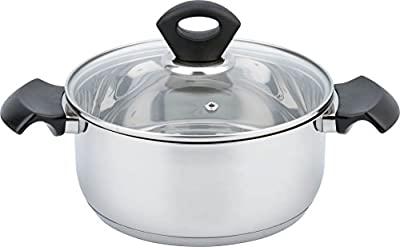 """All For You Mirror Polish Stainless Steel Kitchen Induction Cookware Casserole with G Type Shock Resistant Glass Lid DIA7.8"""" (20cm), H4.1"""" (10.5cm) (3.5 QT)"""