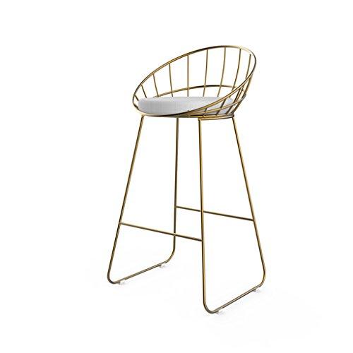 Tabouret Haut en Fer Forgé, Chaise de Bar Dossier Creuse, Noir, Argent, Or, 65cm Haut (Color : Gold)