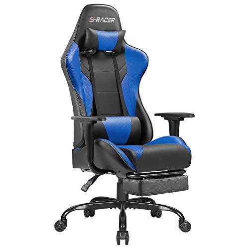 Homall Gaming Stuhl Racing Bürostuhl Ergonomischer Schreibtischstuhl mit Fußstütze PC Computerstuhl Gamer Drehstuhl mit Kopfstütze und Lendenkissen (Blau)