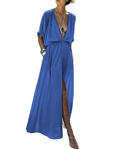 Women's Deep V Neck High Slit Evening Gowns Elastic Waist Plain Party Maxi Long Dress Plus Size(LB-M) Light Blue