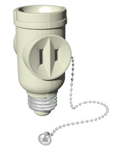 Stanley 30501 Pull Chain Socket Adapter, 2-outlet Light Bulb Socket Adapter, Beige