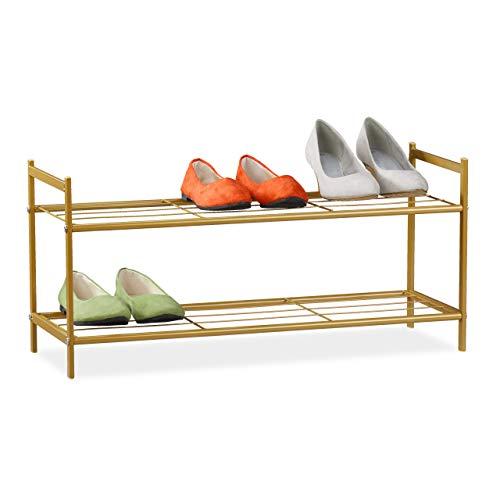 Relaxdays Schuhregal SANDRA, 2 Ebenen, für 6 Paar Schuhe, offen, Metall, Schuhablage, HBT: ca. 33,5 x 69,5 x 26 cm, gold