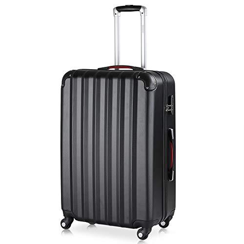 Monzana Maleta rígida Baseline XL Color Negro Equipaje de Viaje 90L Peso 3,5Kg con Ruedas 360° Trolley 2 Asas valija