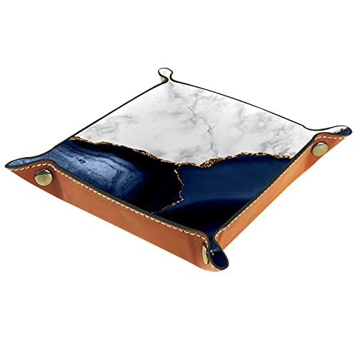 FCZ White Marble Gilded Navy Blue Agate Leather Valet Tray Bedside Desktop Catchall Storage Organiser Box for Jewelry Key Wallet Coin Candy 20 x 20 cm