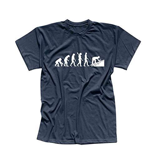 T-Shirt Evolution Dachdecker Tischler Zimmermann 13 Farben Herren XS - 5XL Geschenk Idee Handwerker Schiefer Schindeln Ziegel Solaranlagen, Größe:2XL, Farbe:Navy - Logo Weiss