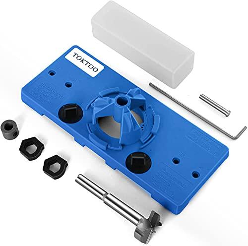 TOKTOO 35MM Concealed Hinge Jig, Suitable for Face Frame Cabinet Cupboard Door Hinges, DIY Tools for Cabinet Door Installation
