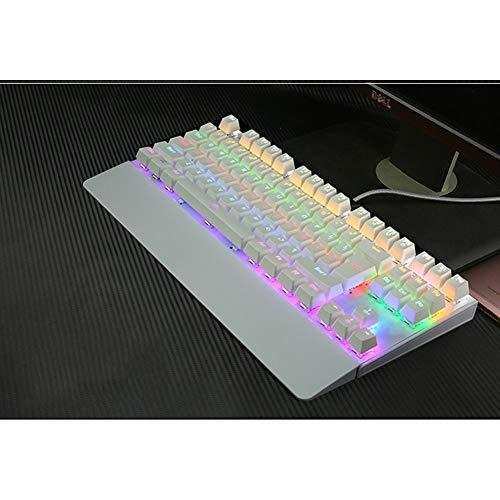 WYSSS Mechanische Tastatur 87-Tasten-Gaming-Tastatur USB-kabelgebundene Tastatur Volltaste Kein Konflikt,Mechanisches Wellenglühen,10 Hintergrundbeleuchtungsmodi Ergonomisches Design Von