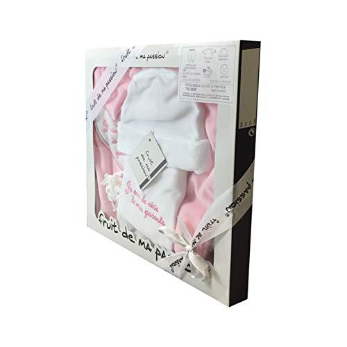 Coffret Ensemble bébé 5 pièces 3 à 6 Mois blanc et rose - Je suis le rêve de mes parents