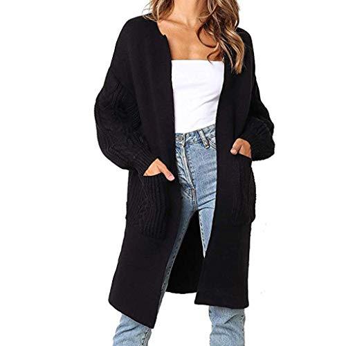 Damen Strickjacke Lange Mantel Strickmantel Grobstrickjacke Lose Pullover Winter Cardigan Sweater