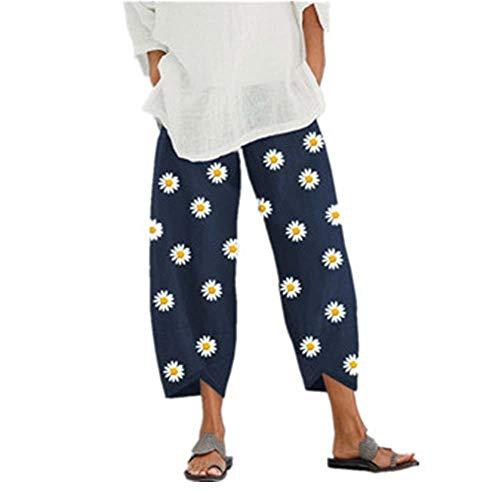 Fansu Mujer Boho Pantalones Pierna Ancha de Lino, Margarita Impresión Baggy Harem Pantalones con Bolsillo Pantalones Moda Cintura Elástica Sueltos Casuales Largos Pants