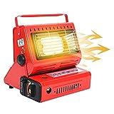 fuguzhu Calentador de gas portátil, 1,3 kW, multifuncional, 2 en 1, calefactor de gas de butano, calefactor compacto con mango, para camping, pesca, color rojo