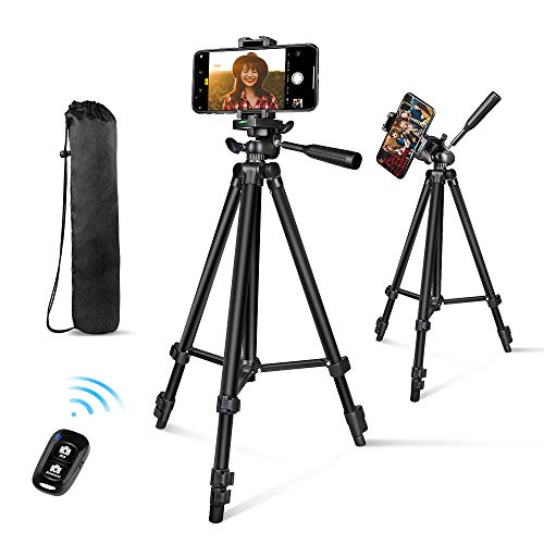 "Phone Tripod, Aureday 50"" Extendable Adjustable Travel Tripod Stand with Phone Holder Mount & Remote, Compatible with iPhone & Android Phone & Camera"