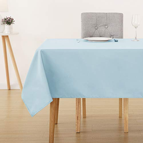 Deconovo Oxford Water Resistant Rectangular Tablecloth Wipeable Table Covers for Garden Table 130x160cm(51x63in) Light Blue
