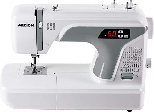 MEDION MD 16661 - Máquina de coser digital, ojal automático, 40 vatios, pantalla LED, 50 patrones de puntada diferentes, luz de costura LED, accesorios extensos, Blanco