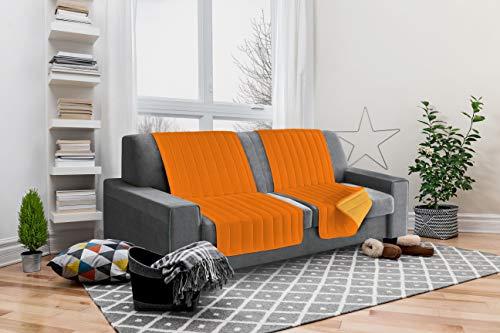 Italian Bed Linen Elegant Protector de Respaldo y Asiento para Sofá, Microfibra, Naranja y Amarillo, 40x30x15 cm