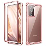 Dexnor for Galaxy Note 20 Ultra Case with Screen Protector Clear Electroplated Metal 360 Full Body Rugged Protective Shockproof Hard Cover Heavy Duty Defender Bumper for Samsung Note 20 Ultra 5G Pink