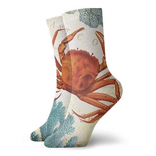 Caswyy Socks Calcetines Tropical calcetines de colores rojo cangrejo y coral informales, divertidos, novedosos calcetines de invierno para hombres y mujeres largo 30 cm