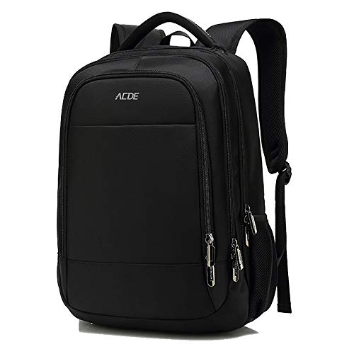 ACDE Laptop Rucksack 15,6 Zoll Notebook Computer Rucksäcke mit USB Ladeanschluss für Business Reisen Frauen Männer College Arbeit Schwarz