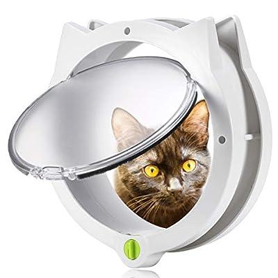Smilelove Cat Flap for Pets - 4Way Locking Cat Door for Interior Doors & Exterior Doors, Wall or Hidden Cat Litter Box for Cats & Doggy