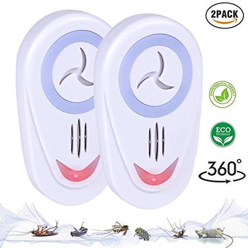 PXQ Répulsif à ultrasons antiparasitaire, Prise d'intérieur dans Le Zapper de Lutte antiparasitaire pour cafard, moustiques, Rats, Mouches, Insectes et Plus, 100% Safe répulseur de rongeurs,EU,2PC