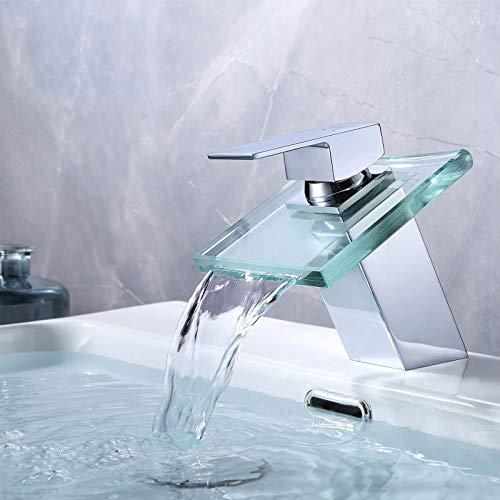 KAIBOR Modern Wasserfall Wasserhahn Bad, Waschtischarmatur Design aus Verchromtem Messing und Transparentem Glas, Einhandmischer Mischbatterie für Badezimmer Waschbecken