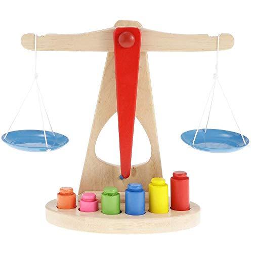 Uteruik Escala de Equilibrio de Madera para niños, Montessori balanza educativa para el Equilibrio de Peso, para el Aprendizaje de los niños, 1 Juego