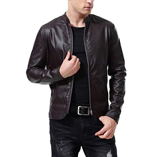 Mens Leather Jacket Herren Oberbekleidung Off-Road-Motorrad-Lederjacke Schwarze Männer laufende Radfahrer-Mantel Slim-Fit-Motorrad-Bomber Top,Brown-XL